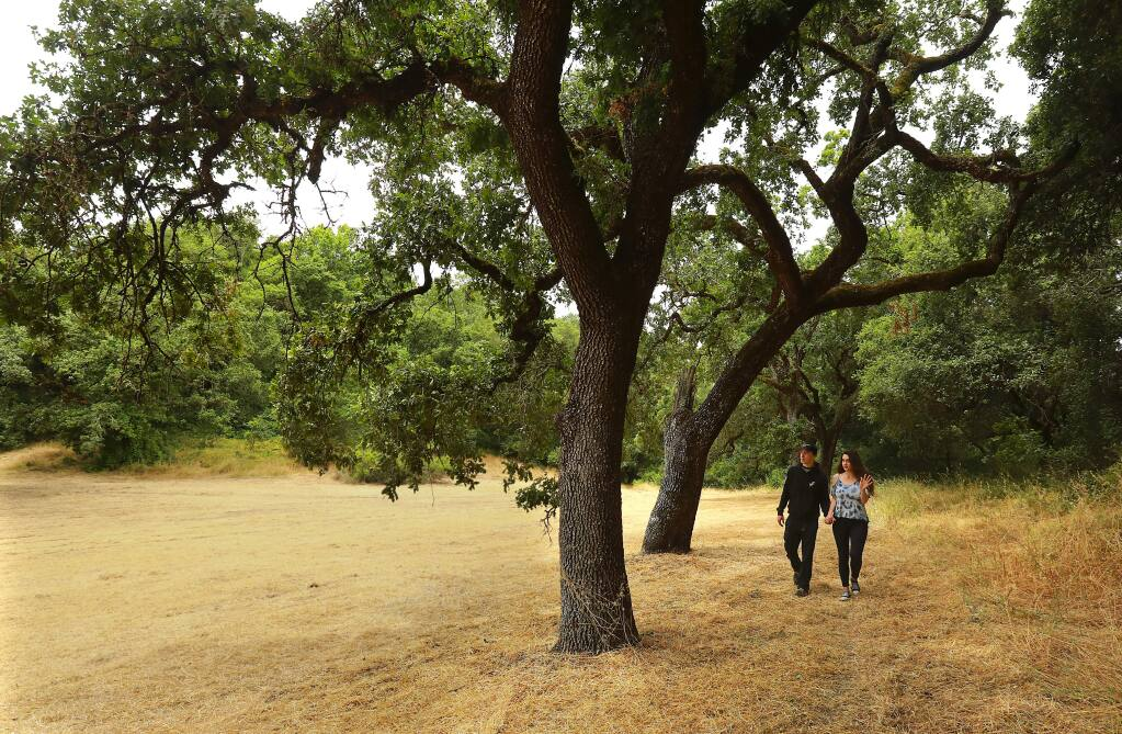 Josh Trull and Raeanne Johnson take a walk in a 10-acre parcel of land saved from development by a neighborhood campaign. The site at the end of Beverly Way in Santa Rosa was to be part of the sale of the county owned hospital and neighboring acreage. (John Burgess/The Press Democrat)