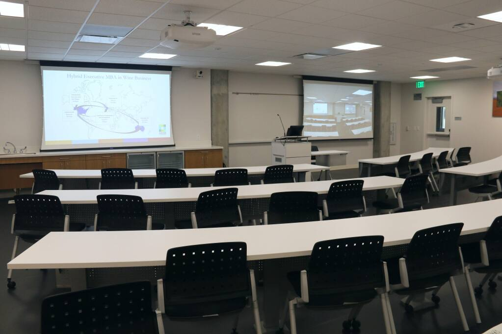 The Peter Michel Executive Classroom in Wine Business Institute's new Wine Spectator Learning Center at Sonoma State University offers teleconferencing with cohorts and guest lecturers around the world. A grand opening is set for May 29, 2018. (JEFF QUACKENBUSH / NORTH BAY BUSINESS JOURNAL) May 24, 2018