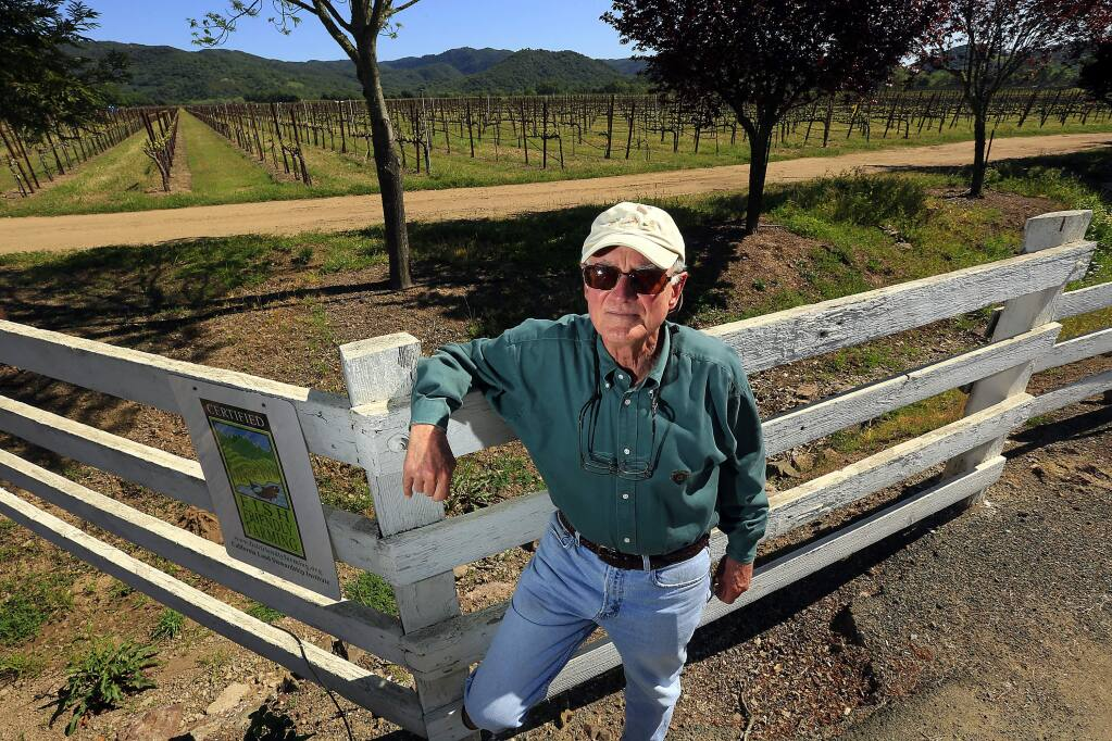 Wine grower Wendell Nicolaus stands in front of the 400 acre McDowell Valley Vineyard east of Hopland. Nicolaus and other local ranchers oppose a proposed for a new subdivision of homes on the land. (Photo by John Burgess/The Press Democrat)