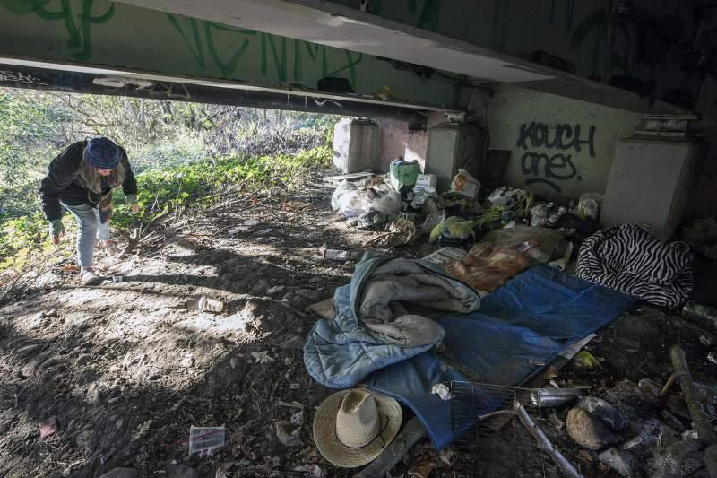 A homeless encampment under one of Sonoma's bridges. File Photo. Robbi Pengelly.