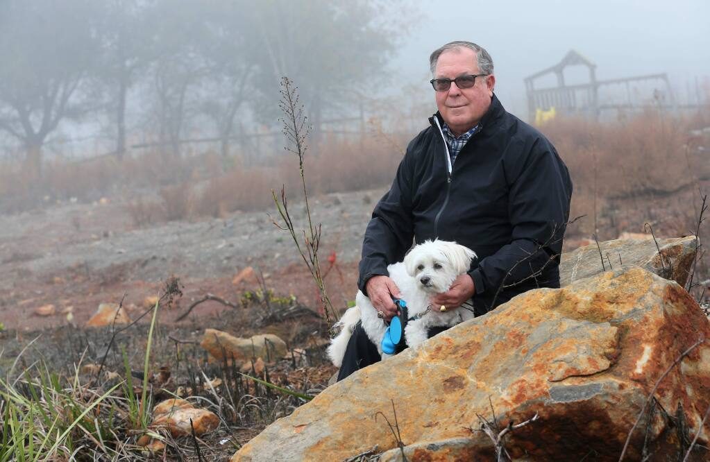 Charles Stark, who lost his Fir Ridge Drive home in the Fountaingrove area of Santa Rosa in the Tubbs fire, is a plaintiff in a class action civil lawsuit against Sonoma County and former emergency manager Chris Helgren for the county's failure to warn people about the 2017 fires. Stark narrowly escaped the fire when his dog, Skipper, jumped on him to wake him up. Stark believes Sonoma County failed in its duty to warn people about imminent danger. (Christopher Chung/ The Press Democrat)