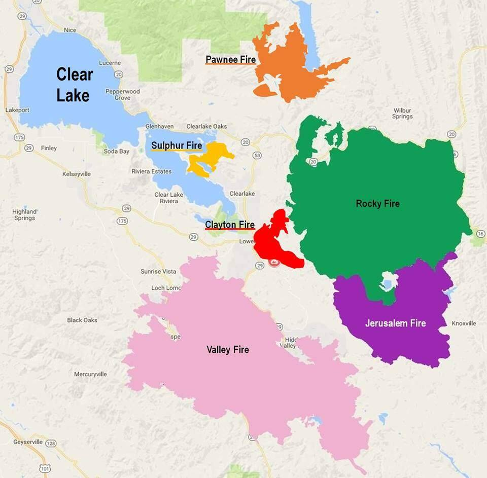 A map showing the fires that have burned through Lake County since 2015, including the Pawnee fire in June, along with the Sulphur fire from 2017, the Clayton fire from 2016, and the Rocky, Jerusalem and Valley fires from 2015.