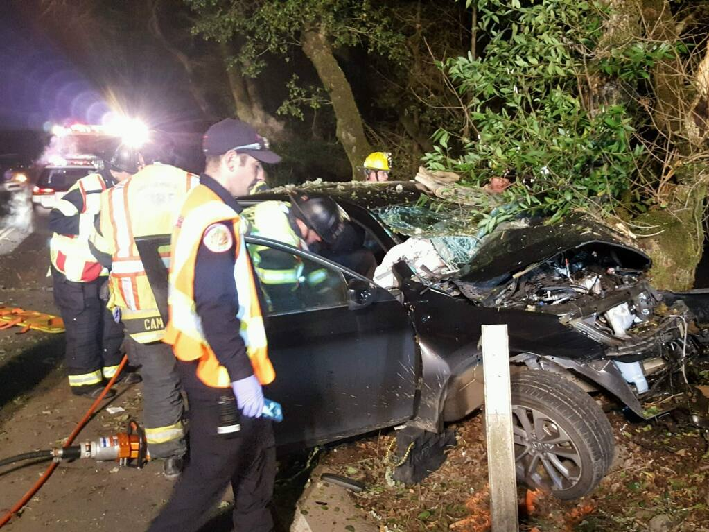 One man was arrested after a suspected drunken driving crash on Calistoga Road in east Santa Rosa on Monday, Feb. 27, 2017. (COURTESY OF RINCON VALLEY FIRE CHIEF JACK PICCININI)
