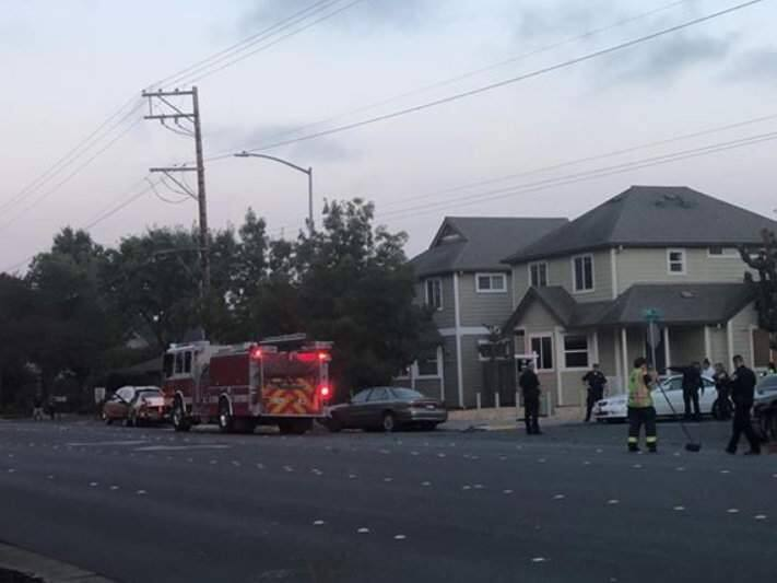 A 20-year-old Santa Rosa man was arrested on suspicion of DUI after reportedly racing his car along West College Avenue and crashing into parked vehicles and other roadside fixtures on Saturday, July 21, 2018. (COURTESY OF MONCE PERREZ)