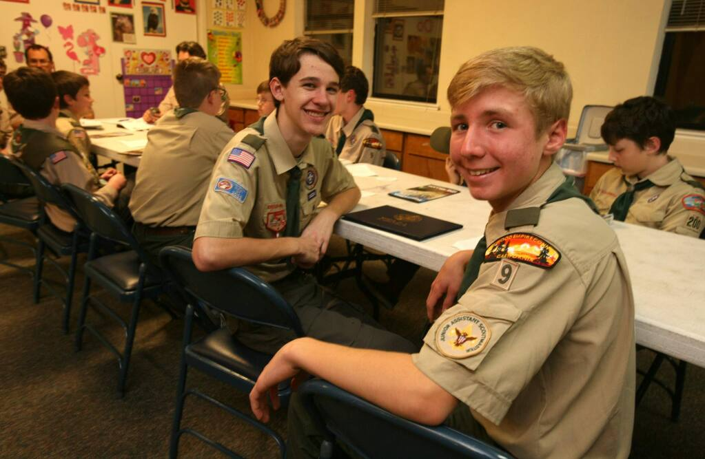 Tucker Cullen, right, and Michael Flett at their Boy Scout Troop 9 leadership meting at Elum church in Petaluma on Tuesday, February 3, 2015. (SCOTT MANCHESTER/ARGUS-COURIER STAFF)