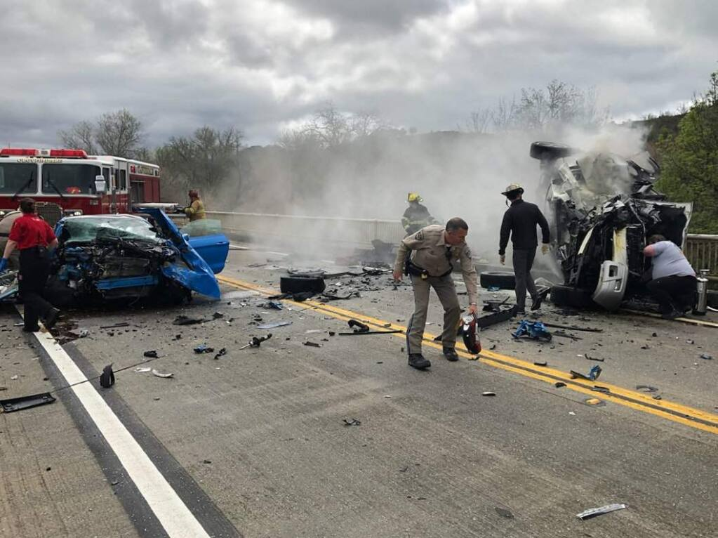 Multiple people were injured in a head-on crash on a Highway 101 bridge near Hopland on Wednesday, April 3, 2019. (CHP - UKIAH/ FACEBOOK)