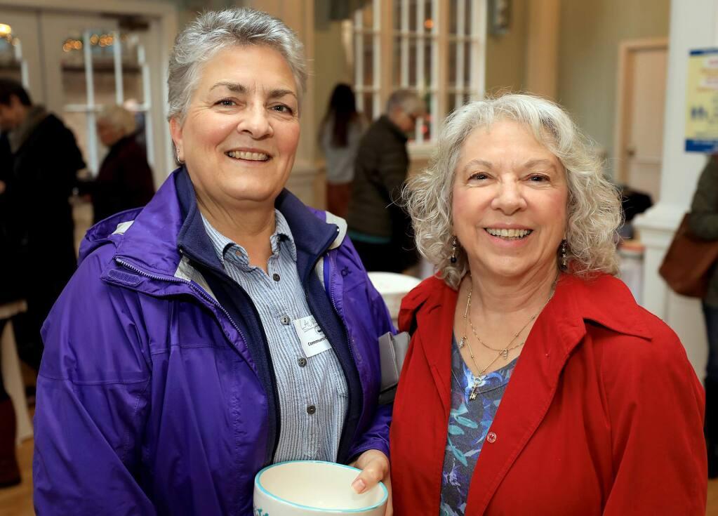 Laura Cameron, left, and Kathy Nagle attend the 1,000 Petaluma Bowls, Friday, Nov. 23, 2018. (Kent Porter / The Press Democrat) 2018