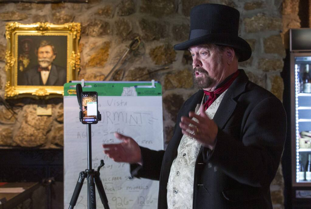 George Webber (aka The Count) prepares for his live video stream at the Buena Vista Winery on Wednesday, April 1. (Photo by Robbi Pengelly/Index-Tribune)