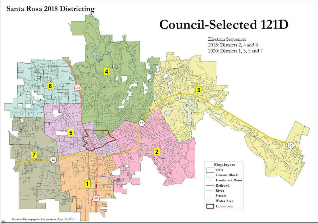 The Santa Rosa City Council has selected its preferred alternative for new voting districts to determine makeup of the City Council. (City of Santa Rosa)