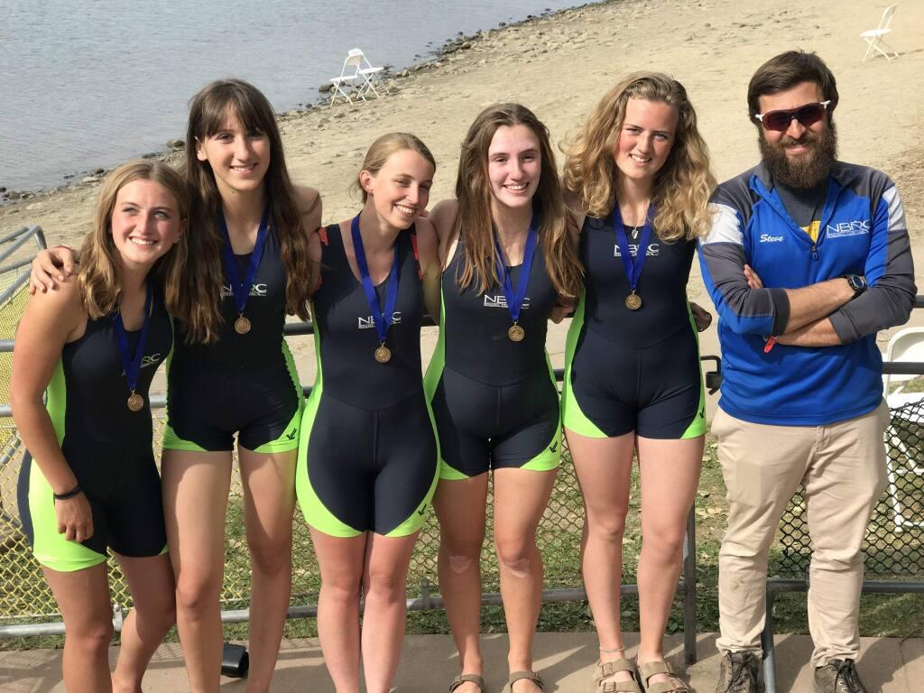 ANNA-CLAIRE DECKER PHOTOThe North Bay Rowing Club's Womens Freshman Coxed Quad includes Ella Keefer, Ella Berger, Livija Langberg, Jordan Rigney, Lucy Decker and coach Steve Genise.