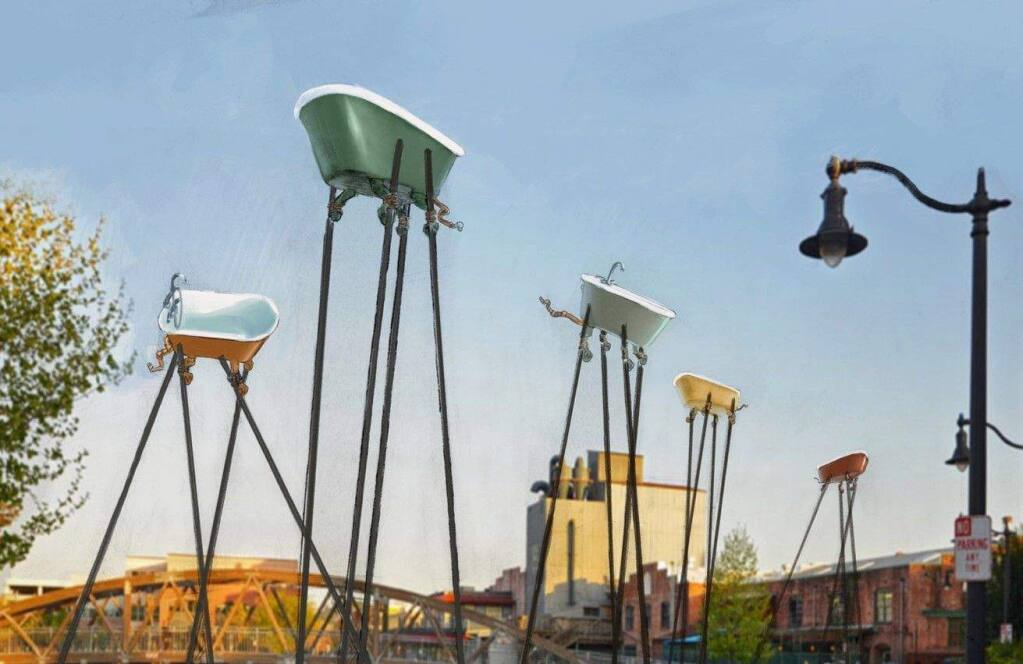 An artist's rendering shows what Brian Goggin's 'Fine Balance' installation might look like on Water Street in Petaluma. (COURTESY OF BRIAN GOGGIN)