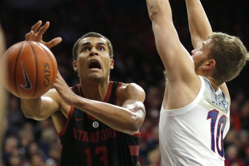 Stanford forward Oscar Da Silva in the first half against Arizona, Sunday, Feb. 24, 2019, in Tucson, Ariz. (AP Photo/Rick Scuteri)