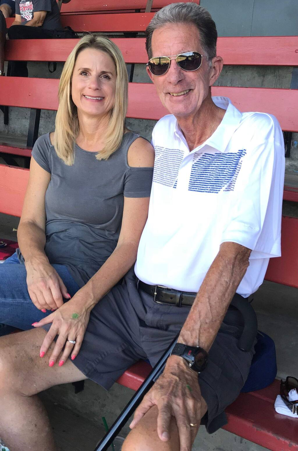 Pete Dardis and his wife, Marina, sit at a baseball game in Yountville on July 26. (Photo from Dardis family)