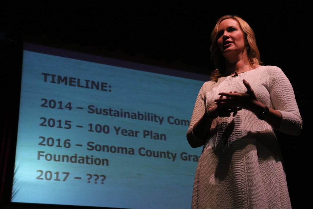 Karissa Kruse, president of Sonoma County Winegrowers, lays out the trade group's progress toward multifaceted sustainability for the industry, speaking at the organization's Dollars and Sense Seminar at Luther Burbank Center for the Arts on Jan. 12, 2017. (JEFF QUACKENBUSH / NORTH BAY BUSINESS JOURNAL)