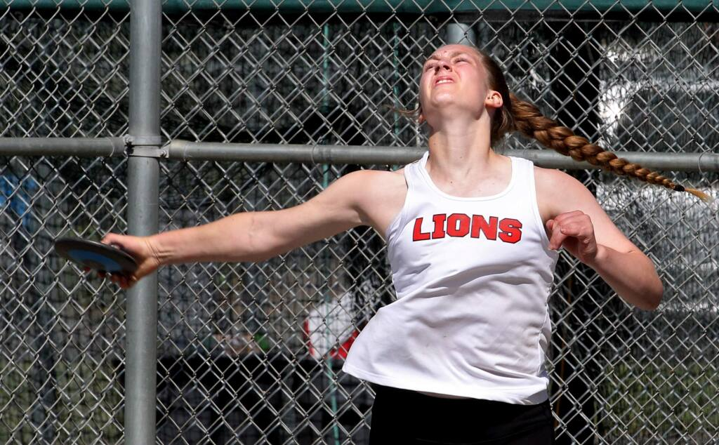 Kassidy Sani of El Molino High School throws the discus during the North Bay League track and field finals at Montgomery High School on Saturday, May 3, 2019. (Darryl Bush / For The Press Democrat)