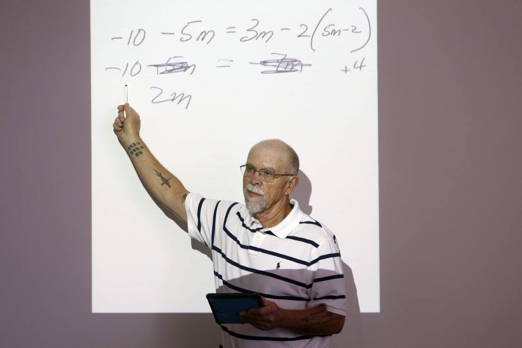 Math teacher Jerry Borchelt teaches at the Hanna Boys Center on Wednesday, August 29, 2018 in Sonoma, California . (BETH SCHLANKER/The Press Democrat)