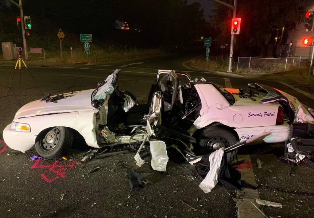A driver was arrested and another driver injured in a suspected DUI crash in Santa Rosa on Saturday, Sept. 14, 2019. (SANTA ROSA POLICE DEPARTMENT)