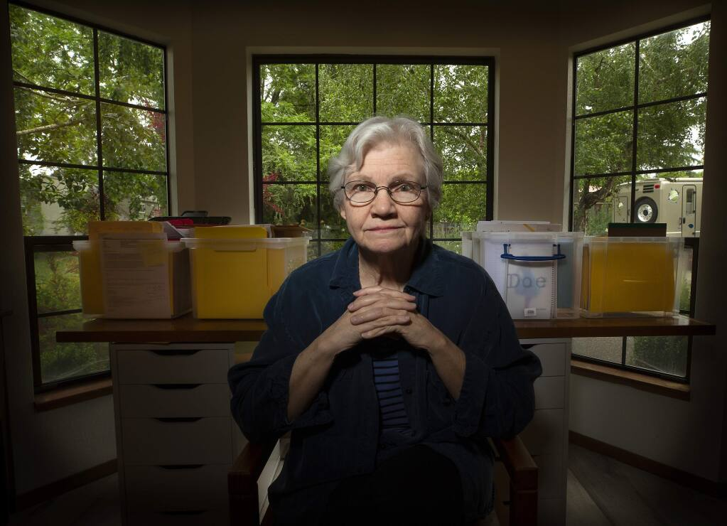 Margaret Press, 72, of Sebastopol co-founded the DNA Doe Project to help solve cold case files to identify Jane and John Does. (photo by John Burgess/The Press Democrat)