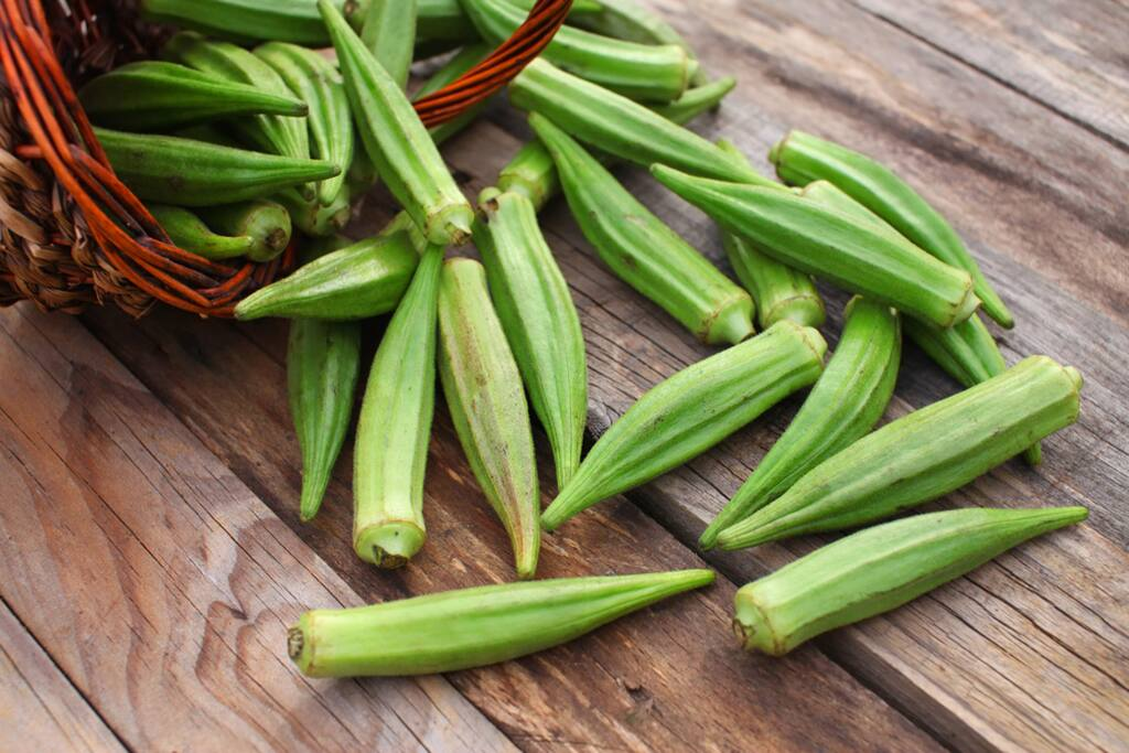 A cup of raw okra contains 10 percent of the daily recommended amount of Vitamin C and 49 percent of folacin.