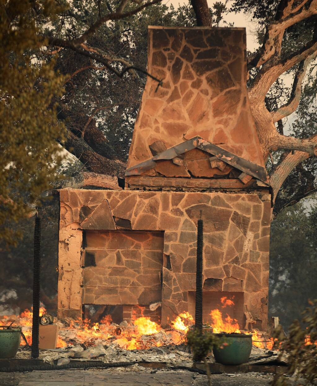 Several buildings were destroyed in the Jackson Family compound by the Kincade fire, Thursday, Oct. 24, 2019 near Geyserville. (Kent Porter / The Press Democrat)