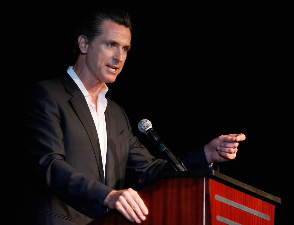 Lieutenant Governor Gavin Newsom speaks during a Brady Campaign to Prevent Gun Violence event at Graton Resort and Casino in Rohnert Park, California on Friday, April 1, 2016. (Alvin Jornada / The Press Democrat)