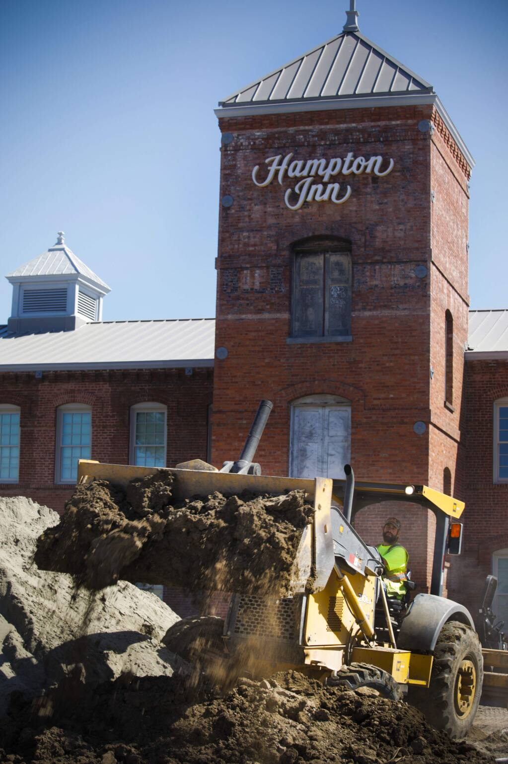 Work continues at the former Silk Mill on Lakeville where a new Hampton Inn is scheduled to open in June(CRISSY PASCUAL/ARGUS-COURIER STAFF)