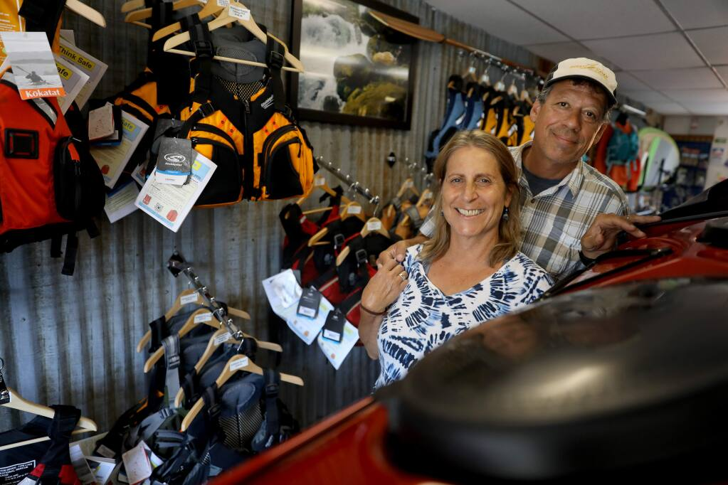 Anne and Jeff Kellogg are the owners at Clavey Paddlesports in Petaluma on Monday, July 8, 2019. (BETH SCHLANKER/ The Press Democrat)