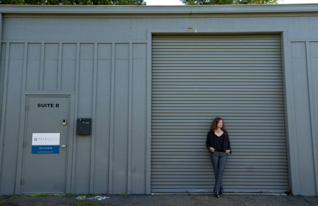 Scarlet Ravin, CEO of White Fox Medicinals, hopes to open the Fox Den dispensary in a warehouse behind the Trail House restaurant and bar on Montgomery Ave. in Santa Rosa. The business will go before the Planning Commission on Thursday. (photo by John Burgess/The Press Democrat)