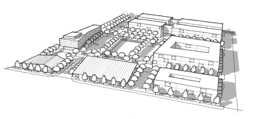 Artist's rendering of MidPen Housing's proposal for the Roseland Village mixed-use project in Santa Rosa.