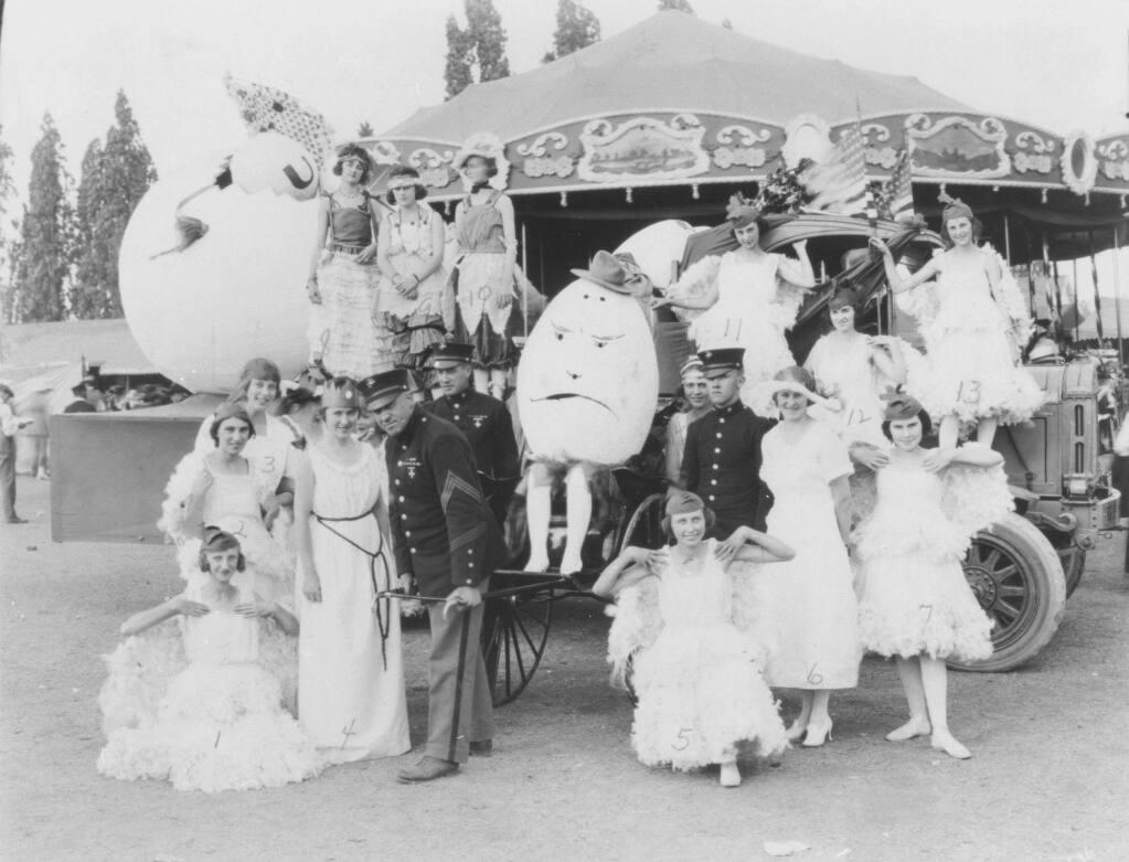 Petalumans take part in a 1920's era Egg Day parade. (Photo courtesy of Sonoma County Library)