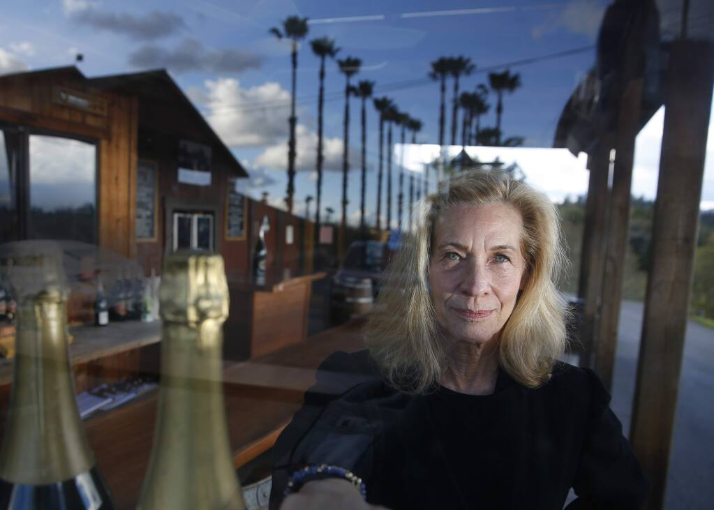 Joy Sterling CEO of Iron Horse Vineyards in the tasting room which has been temporarily closed after Gov. Newsom advised Sunday for the closure of bars and wineries prevent the spread of COVID-19. Photo taken in Graton on Monday, March 16, 2020. (BETH SCHLANKER/ The Press Democrat)