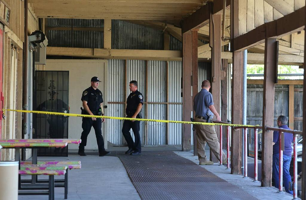 Petaluma Police Department personnel responded to a call for a deceased person in a piece of equipment at Rogue Research Inc. in Petaluma on Monday, June 11, 2018. (CHRISTOPHER CHUNG/ PD)
