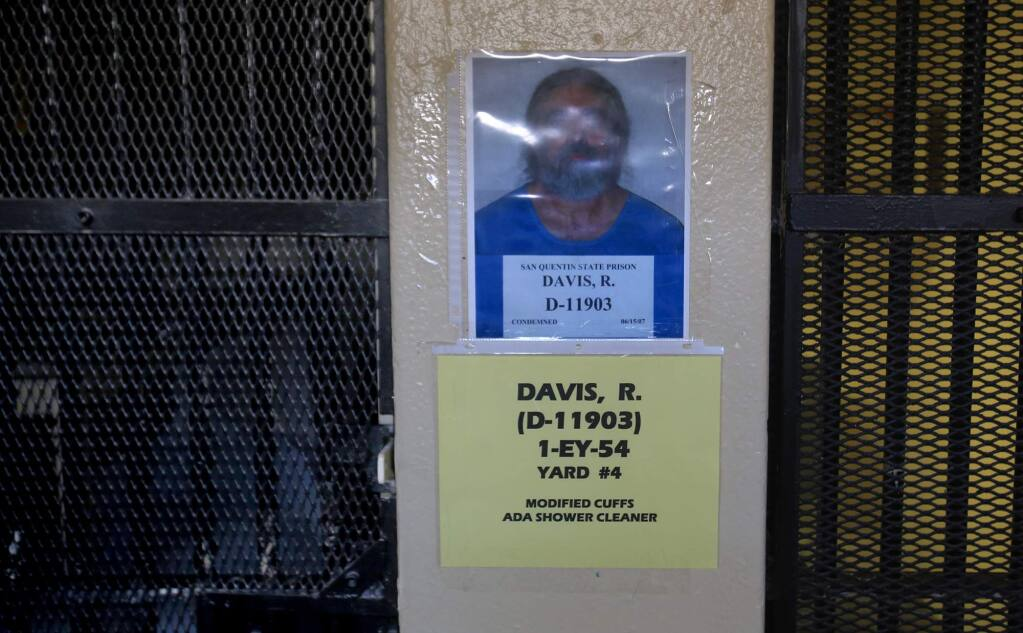 Richard Allen Davis refused to talk with reporters, but his photograph remains next to his cell, left at San Quentin's Death Row, Davis was sentenced to death for the murder of Petaluma's Polly Klaas. (Kent Porter / The Press Democrat) 2016