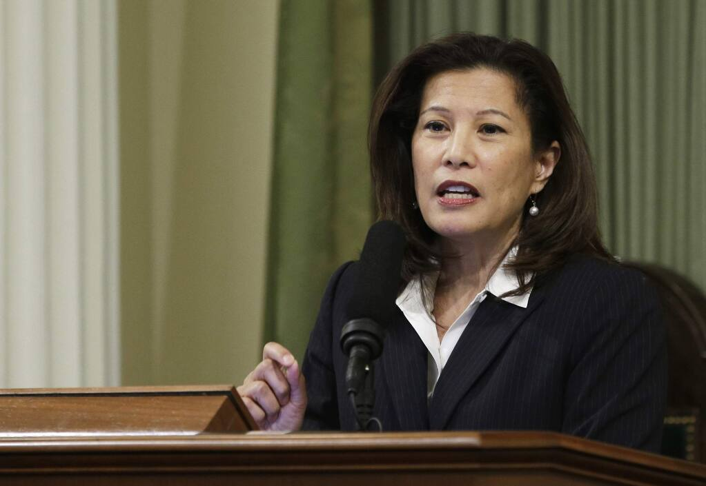 FILE - In this March 23, 2015, file photo, California Supreme Court Chief Justice Tani Cantil-Sakauye delivers her State of the Judiciary address before a joint session of the Legislature at the Capitol in Sacramento, Calif. (AP Photo/Rich Pedroncelli, File)