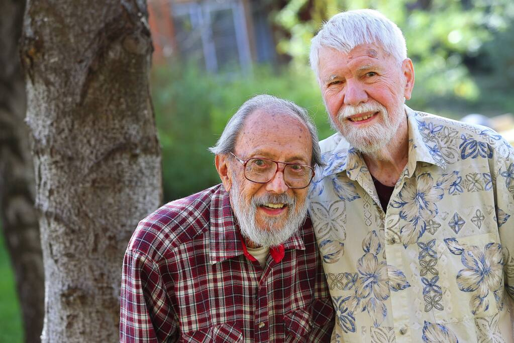 Doug Heen, 96, left, and Bill Scogland, 88, have been together for 65 years. (Christopher Chung/ The Press Democrat)