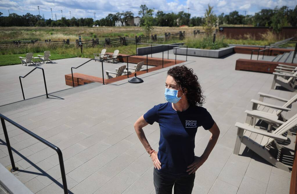 Russian River Brewing Company's Natalie Cilurzo in the beer garden at their Windsor Brewery, Wednesday, May 20, 2020. (Kent Porter / The Press Democrat) 2020