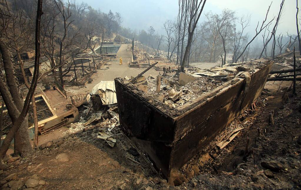 A popular destination for many Bay Area residents, most of Harbin Hot Springs was destroyed by the Valley fire. Photo taken Monday Sept. 14, 2015. (Kent Porter / Press Democrat)