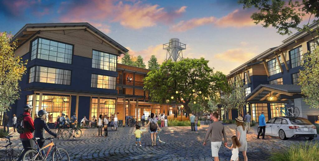 The Mill District stands to reimagine the main entry into Healdsburg from the Highway 101 Central Healdsburg off-ramp. The mixed-use project from resort developer Replay includes a 53-room hotel with retail space below it near the city's roundabout on Healdsburg Avenue. (Replay)