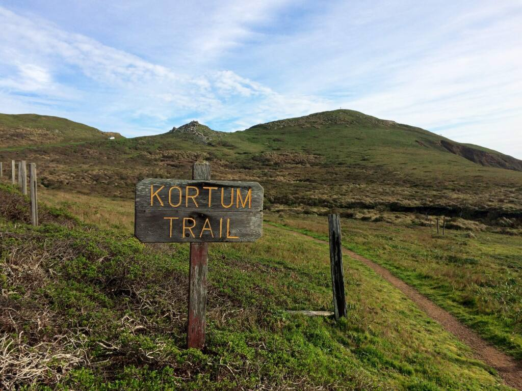 Entrance to the 4 mile long Kortum Trail near Blind Beach. The trail can be accessed at various points along its length, offering an easy and family friendly walk along the Pacific Coast. Photo: Stephen Nett