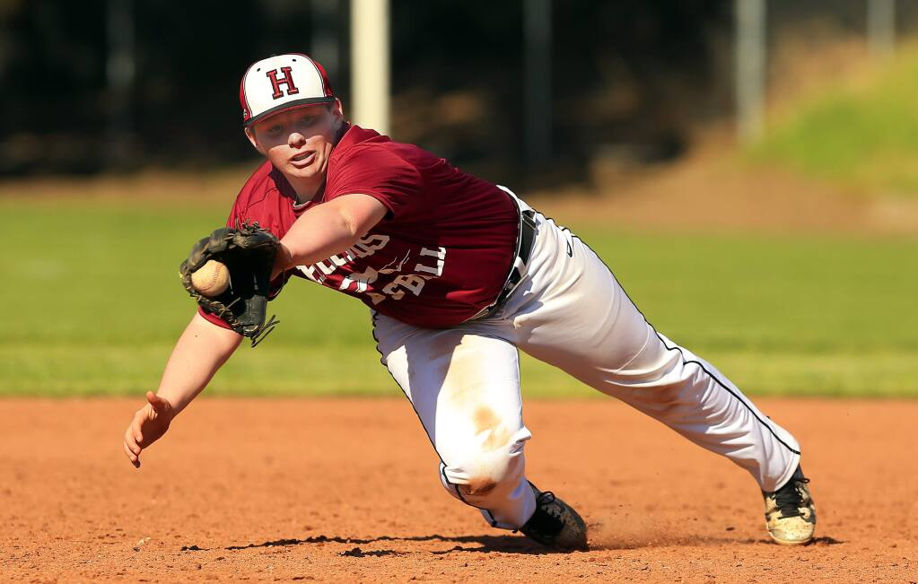 Healdsburg sophomore Connor Browning completed a rare unassisted triple play while playing second base against Elsie Allen High School on April 13. (photo by John Burgess/The Press Democrat)