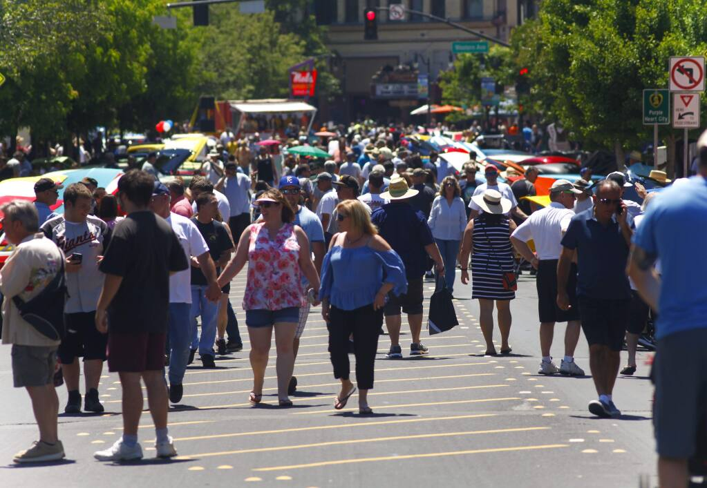 Crowds hit the streets of downtown Petaluma in May 2017 during 'Cruising' the Boulevard', Petaluma's Salute to American Graffiti. People struggling to adjust to crowds after a year of isolation may want to attempt exposure therapy, a psychologist writes. (CRISSY PASCUAL/PETALUMA ARGUS-COURIER)