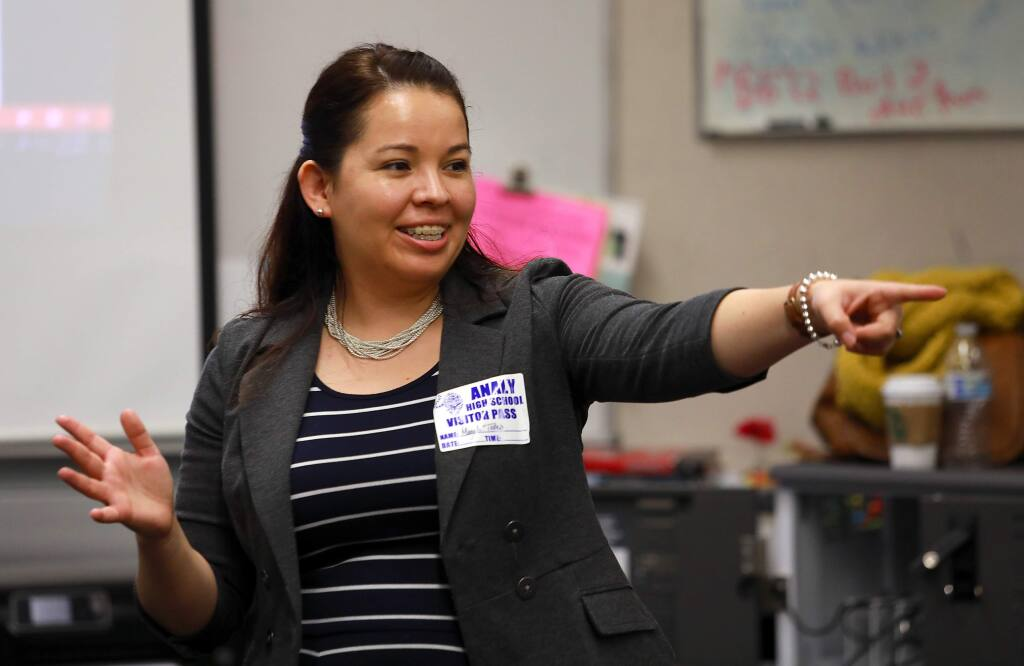 Sonoma State University college readiness coordinator Magali Telles talks about requirements with a class of juniors at Analy High School in Sebastopol. (John Burgess/The Press Democrat)