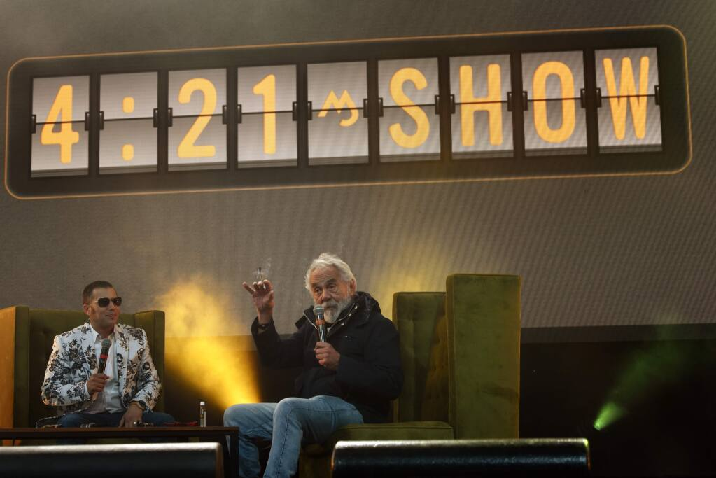 Canadian actor Tommy Chong, right, being interviewed on the 4:21 Show during Emerald Cup held at Sonoma County Fairgrounds in Santa Rosa, Calif. on Saturday, Dec. 14, 2019.(Photo: Erik Castro/for The Press Democrat)