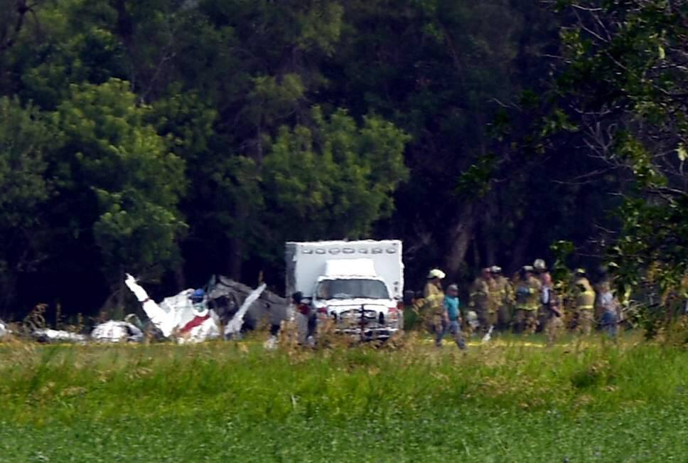 Three people were killed when a plane registered to a Sebastopol man crashed near the Chadron Municipal Airport in Nebraska on Wednesday, July 24, 2019. (KERRI REMPP/ THE CHADRON RECORD)