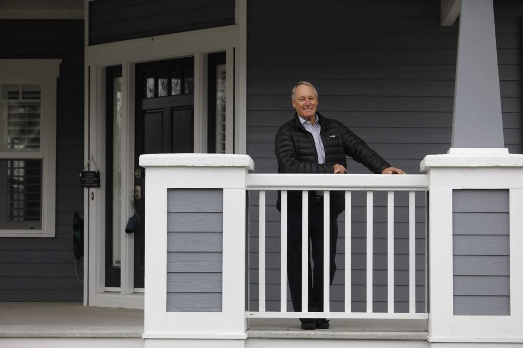 Pacific Union real estate agent Tony Parrish outside 401 Via Gigi St in Petaluma which is in escrow, on Tuesday, Jan. 16, 2018. (BETH SCHLANKER/ PD)