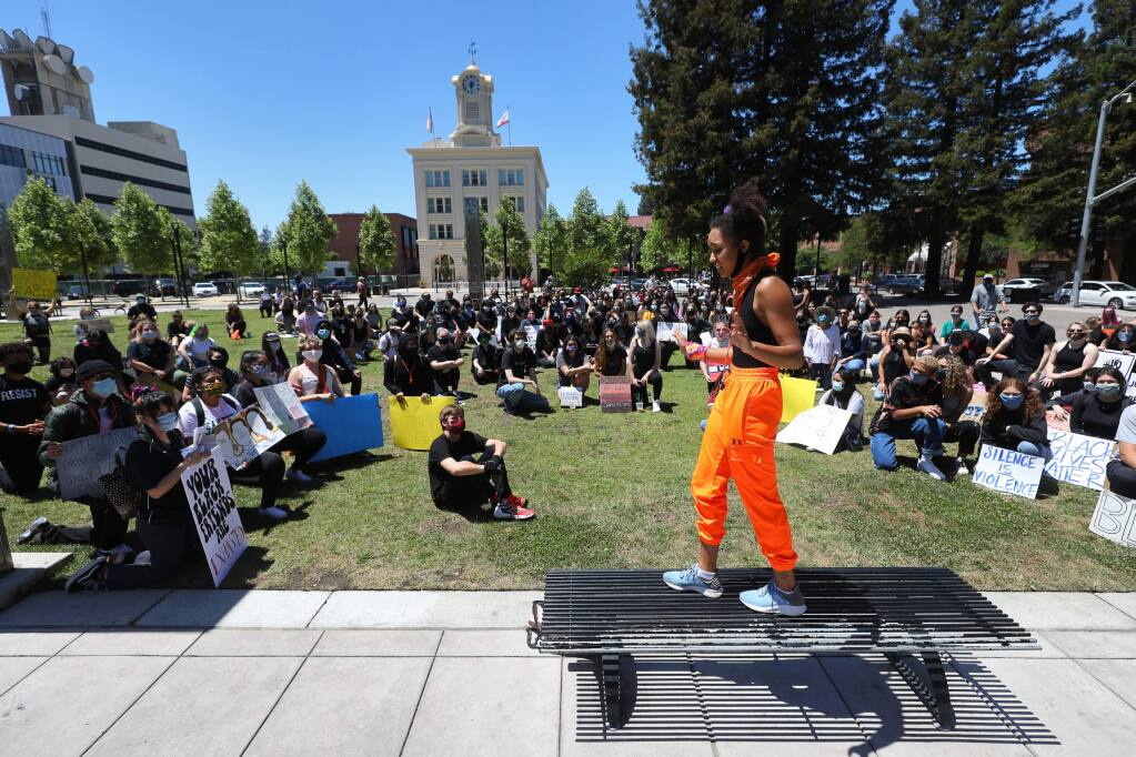 Joy Ayodele speaks to protesters before a march in Old Courthouse Square, in Santa Rosa on Monday, June 1, 2020. (Christopher Chung/ The Press Democrat)