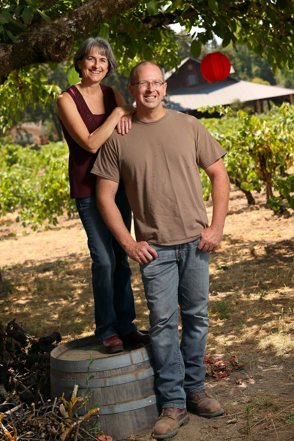 Michael and Kendall Officer, owners of Carlisle Winery, tell their story of leaving their professions in financial software to becoming a winery, as part of the film 'American Wine Story.' (Christopher Chung / The Press Democrat)