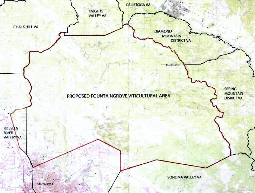 The new Fountaingrove AVA, a preliminary version of which is shown here in a map submitted to federal regulators, is surrounded by Sonoma Valley and Bennett Valley to the south, Knights Valley and Chalk Hill to the north, and the Russian River Valley to the west.