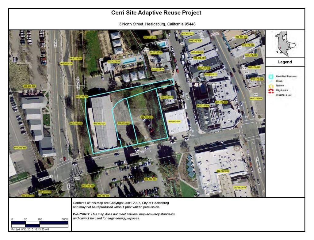 An overhead map of the 3 North St. parcel owned by the city of Healdsburg. The site, also known as both the Cerri and Purity property, has long been planned for a community event space, but could also be redeveloped for affordable housing. (City of Healdsburg)