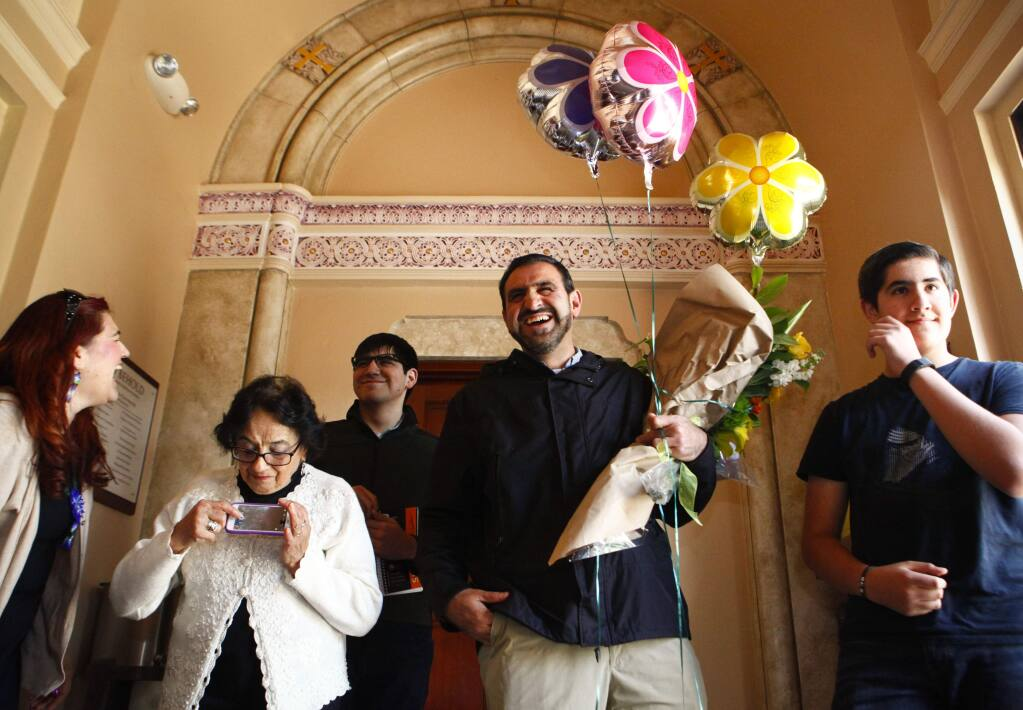 Petaluma, CA, USA. Tuesday, March 07, 2017._ Abraham Solar is surprised by friends and family as he is awarded 'Petaluma Person of The Year'. (CRISSY PASCUAL/ARGUS-COURIER STAFF)